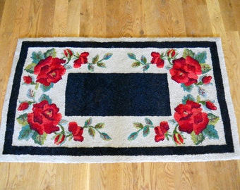 """Antique French Country Vintage 1920s Wool Hand Hooked Red Poppy Roses Floral Rug 4' 1"""" x 2' 5"""" Arts & Crafts Bungalow Cottage Farmhouse Rug"""
