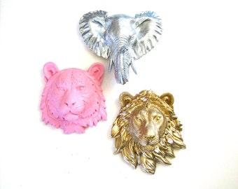Choose ANY 3 ANY Colors Small Animal Head Wall Mounts: Choose from small tiger, elephant, lion, bear, wolf, OR zebra Great partyfavors/gifts
