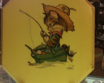 Vintage kitty cat gone fishing wall art mid century boys nursery hand done wall plaque free shipping