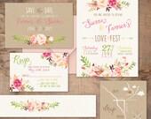 Boho Chic Wedding Invitation, blush and pink flowers, spring or summer wedding, unique wedding invitations