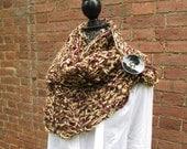 Button Scarf Crochet Shawl Acrylic Washable Warm Soft Handmade Adjustable Gold Merlot Red Black