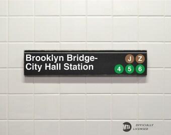 Brooklyn Bridge- City Hall Station - New York City Subway Sign - Wood Sign
