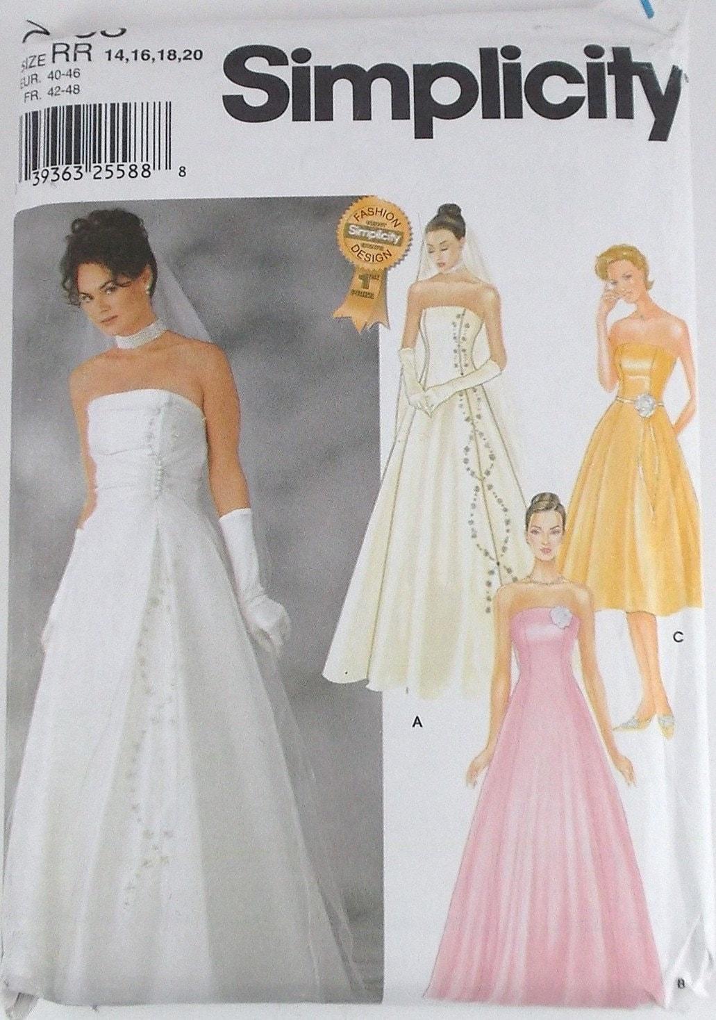 Misses wedding dress simplicity pattern 7068 bridesmaid dress for Wedding dress patterns online