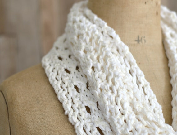 Knitting Lace Patterns For Beginners : Knitting pattern lace scarf simple knit infinity