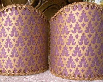 Pair of  Wall Sconce Clip-On Shield Shades Fortuny Fabric Chinese Plum & Gold Murillo Pattern Half Lampshade - Handmade in Italy