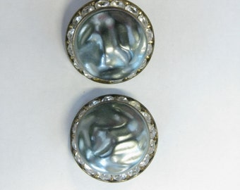 Vintage 1940's/50's Pearly Gunmetal Textured Domed Earrings with Rhinestone Channel-Set Base, Clip Earrings, GOldtone