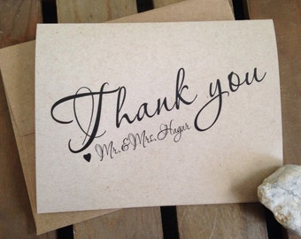 Thank you cards - Personalize - WEDDING - CUSTOM - Rustic - Stationery - Recycled  - Eco - Personalized - Set of 20 Notecards