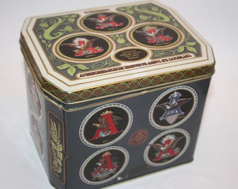 Vintage Historical A & Eagle Series Anheuser Busch Budweiser Tin, Bar Collectible, Brewing, St. Louis, Beer Collectible With Lid