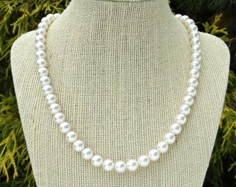 Pearl Necklace, Bridal Pearls, Bridal Pearl Necklace, Bridesmaid Necklace, Bridesmaid Pearls, Wedding, Single Strand Pearls, 18