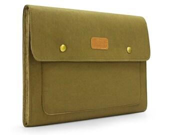 "Kraft Paper & Felt Macbook Case 11"" 13"" Macbook Sleeve 15'' Macbook Pro Cover Bag Macbook Case with Front Pocket Custom Made KE48"