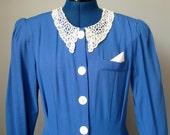 Blue Secretary Dress / Vtg 80s / Bright Blue Lace Collar Secretary Dress / Button down / Short Sleeve /