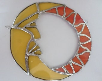 Handmade,stained glass, yellow, orange, sun & moon, wall art / sun catcher, mystical, magical, celestial,      suebarrittdesigns