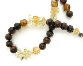 Red Tiger Eye beaded bracelet citrine semiprecious gemstone cube crystal antique silver