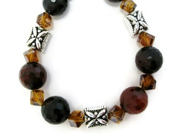 Agate Beaded Bracelet semiprecious gemstone amber crystal facet cut stone statement bracelet career women