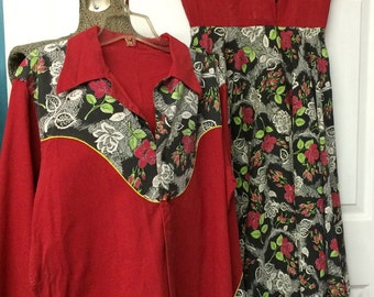 Coming up roses! 1950s his and hers matching outfit western shirt and circle dress set