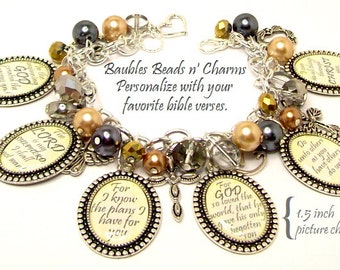 Bible Verses Charm Bracelet Jewelry, Christian Charm Bracelet Jewelry, Religious Charm Bracelet Jewelry, Personalized Charm Bracelet Jewelry