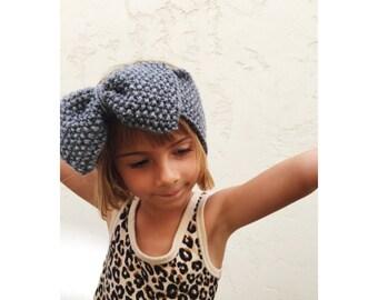 Girls Knit Big Bow Headband - Charcoal Grey Bow Head Band