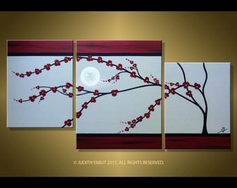 Red Cherry Blossom Abstract Painting, Wall Art, Soft Grey, Burgundy,  landscape, canvas art, triptych painting by Judith Yabut