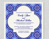 Royal Blue Spanish Square Tiles Wedding Invitation Suite