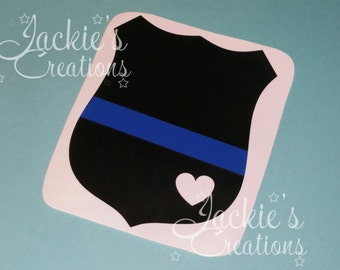 Thin Blue Line Badge Decal/Police Decal/Police Wife Decal