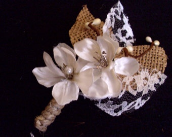 Burlap and Lace Boutonniere and Corsage