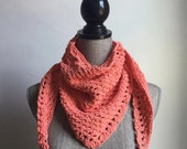 Crochet Cotton Handkerchief Scarf in Coral