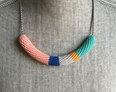 Crochet Vintage Chain Necklace // Salmon, Blue, Bright Orange + Light Teal