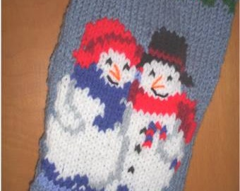 Handknitted Personalized Mr. & Mrs Snowman in Blue Christmas Stocking