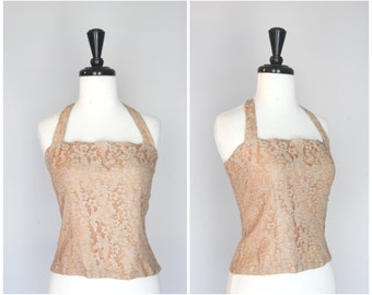 Gorgeous Vintage 1950s  Lace  Halter Top / Shirt Blouse / Old Hollywood Glam