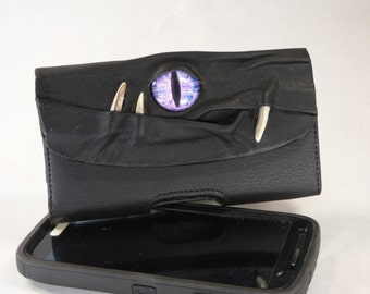 Leather Cell Phone Case Samsung S3/S4 Accessory Large Black With Face Eyes