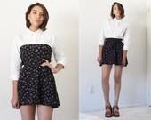 Vintage handmade petite navy floral wrap mini strapless open back dress skirt