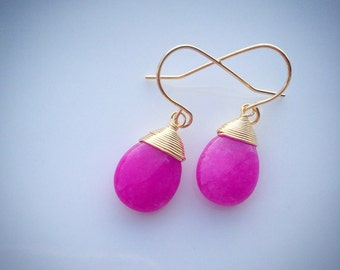 Hot Pink Wire Wrapped Dangle Earrings
