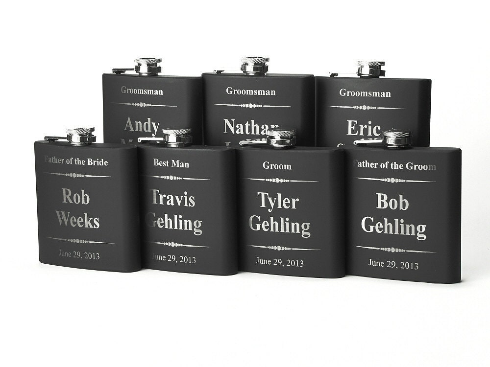 Personalized Groomsmen Gift Engraved Flasks By