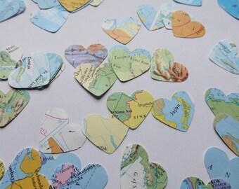 map confetti - 500 hearts - atlas confetti - wedding confetti - heart confetti - vintage 1970s school atlas - map hearts - party decor