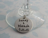 Hand Stamped Personalized Wedding Wine Charms - Custom Wedding Favors with Names and Date
