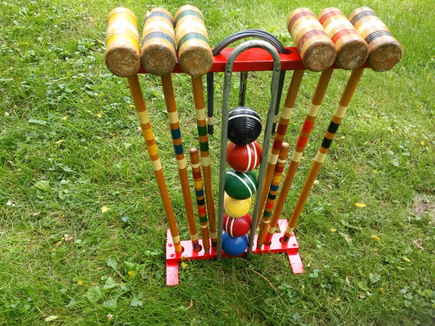 Vintage Six Player Wood Croquet Set With Red Wood Holder