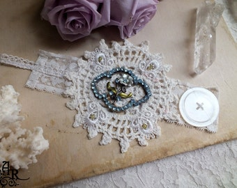 Something Blue... Inspired Bridal Vintage & Antique Mixed Media Cuff