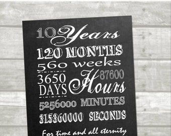 10 year anniversary printable:Digital, instant download, minutes, hours, seconds, days, years, lds