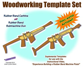 Rubber Band Gun Plans / Carbine and Submachine Gun Printable Woodworking Templates / Rifle or Pistol Options / Customizable / Color Decals