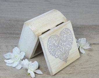 Shabby White Ring Bearer Box, Wedding Ring Box, Ring Bearer Pillow Alternative, proposal ring box,  personalized, rustic, heart