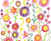 Flower Watercolour Print, Wild And Beautiful, Flower Art
