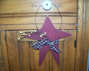 Primitive Wooden Americana Star Hanger/Greeter