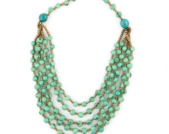 Acai Seed Necklace in Light Blue w/ Gold Accent Beading - TERRA Style