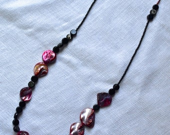 Unique Amethyst Shell and Black Glass Beaded Necklace