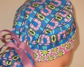 Modern Blue Print with pink brim Pony Tail Style Surgical Hat