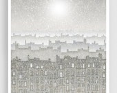 Walking with angels - Paris illustration Art Print Poster Wall decor Modern Home decor Travel poster Art for sale Cityscape Winter Grey Snow