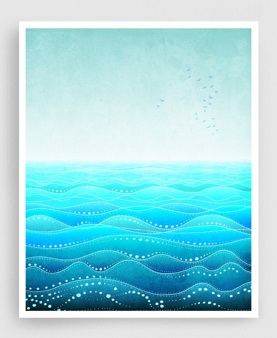 Through all ages (vertical) - Art Illustration Print Poster Home decor Nature prints Kids wall art Love Turquoise sea prints Ocean prints