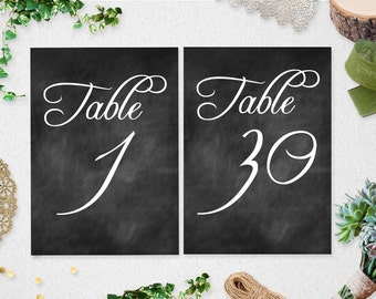 Instant Download Printable Table Numbers 1-30 // chalkboard // 5x7 // 4x6 // wedding // bridal shower