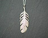 Sterling silver feather necklace, bohemian, large feather pendant, long silver necklace, mens necklace, layering jewelry - pluma
