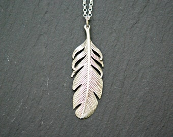Sterling silver feather necklace, bohemian jewelry, large feather pendant, long silver necklace, mens necklace, layering necklace - pluma